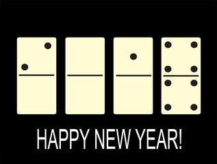 Creative happy New year 2018 in the form of dominoes