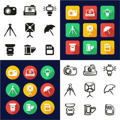 Photography All in One Icons Black & White Color Flat Design Freehand Set