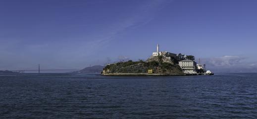 Alcatraz Island in the blue sky