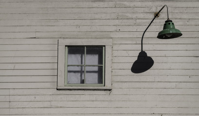 Old style windows and hanging lantern