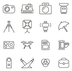 Photography Equipment Icons Thin Line Vector Illustration Set