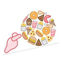Obese Figure Pushing Junk Food Ball