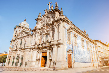 View on the Carmo and Carmelitas church during the sunny day in Porto city, Portugal