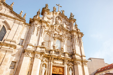 View on the Carmo church facade during the sunny day in Porto city, Portugal
