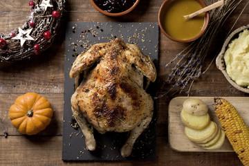 roast turkey on a wooden table