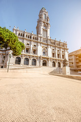 Morning view on the city hall building on the central square in Porto city, Portugal
