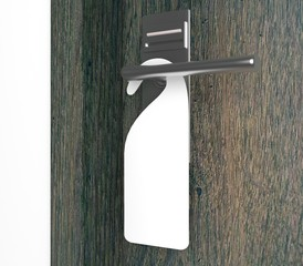 Blank sign on the modern handle of door. 3d rendering