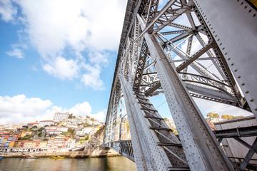 Landscape view on the famous iron bridge in Porto city, Portugal