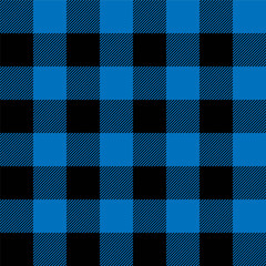 Lumberjack plaid pattern in navy blue and black. Seamless vector