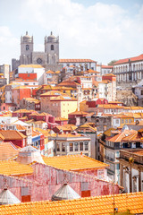 Top cityscape view on the old town of Porto city during the sunny day in Portugal