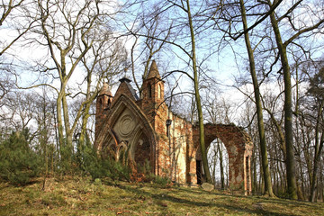Ruins of Gothic house in Arkadia park. Lowicz county. Poland