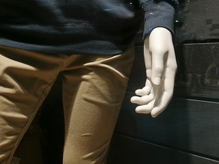 Left hand ready to shake from cloth model standing