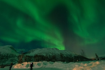 Northern lights over snowy mountain in winter ,Tromso,Norway