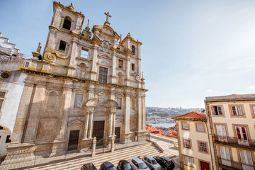 View on the facade of Igreja dos Grilos church in Porto city, Portugal