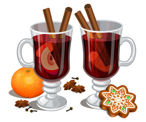 Christmas mulled wine with spices, gingerbread cookie, orange, anise and cinnamon sticks, traditional christmas drink. Vector illustration, eps 10.