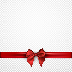 White holiday background with red bow.
