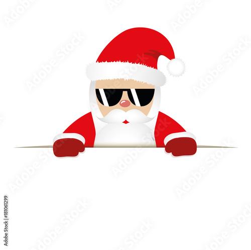 cooler weihnachtsmann mit sonnenbrille banner wei stock. Black Bedroom Furniture Sets. Home Design Ideas