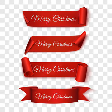Christmas Sale. Red Ribbons. Vector illustration