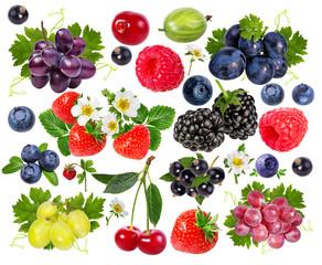 Leinwandbilder - collection of fresh berries isolated on white background