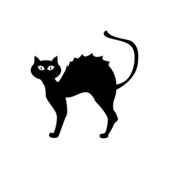 Halloween black cat isolated on white background. Vector illustration.
