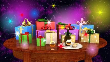 Natale pacchi regalo su tavolo ovale