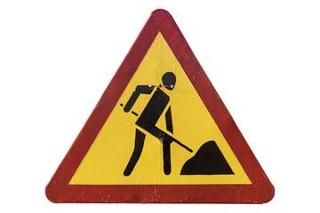 Triangular red border yellow road sign 'Roadworks'