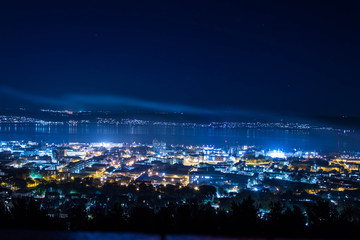Dundee at night with clouds.