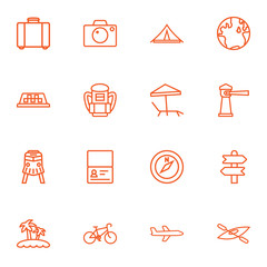 Set Of 16 Travel Outline Icons Set.Collection Of Certificate, Palm, Direction And Other Elements.