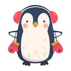 penguin with headphones