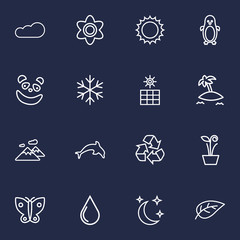 Set Of 16 Nature Outline Icons Set.Collection Of Leaf, Panda, Island Elements.