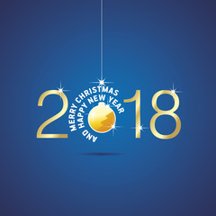 Happy New Year 2018 Christmas gold yellow ball blue vector