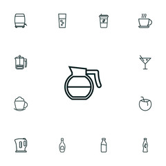 Set Of 13 Drinks Outline Icons Set.Collection Of Hot Drink, Wine Cask, Champagne And Other Elements.