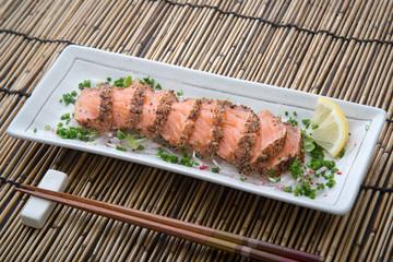 japanese salmon tataki with ponzu sauce