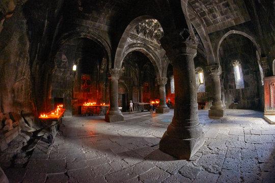 GEGHARD MONASTERY, ARMENIA - AUGUST 04, 2017: Geghard Monastery Mystic Interiors