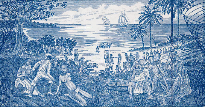 African slave trade on Guinea Bissau 500 peso banknote closeup macro, slavery scene in Africa..