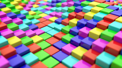 Abstract background of colored cubes. 3d rendering