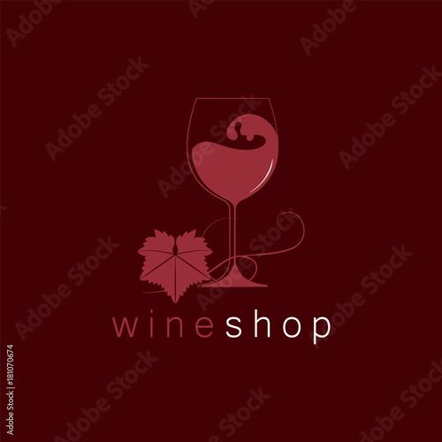 Wineglass And A Grape Leaf Logo Template For Restaurant Menu Shop Tasting