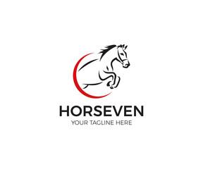 Jumping Horse Logo Template. Line Animal Vector Design. Pet Circular Illustration