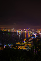 Pattaya city   in twilight time and midnight time ,  Thailand