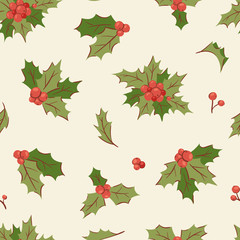 Christmas holly berry decoration vector leaves tree set, Xmas traditional Holly Berry symbol leaf icon branch illustration seamless pattern background