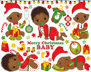 Vector Set with Cute African American Baby Boys Wearing Christmas Clothes and Xmas Elements