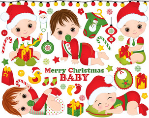 Vector Set with Cute Little Baby Boys Wearing Christmas Clothes and Xmas Elements