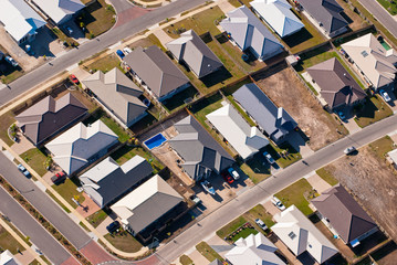 Aerial photograph of suburban housing