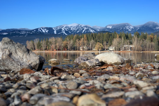 Whitefish Mountain Resort viewed from the shores of Whitefish Lake in Whitefish, Montana