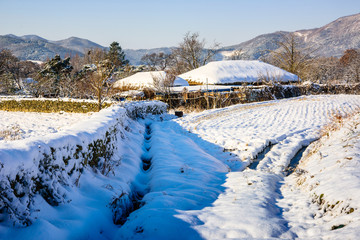 Oeam village of Asan beautifully with white snow down.