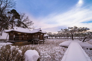Gangneung-si, Gangwon-do, South Korea - Seongyojang House of Gangneung's many snowy landscapes.