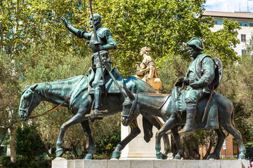 Don Quixote and Sancho Panza  in Madrid