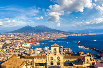 Fotorolgordijn Napels Napoli and mount Vesuvius in Italy