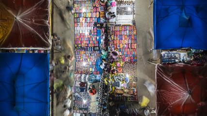 Drone aerial view of Luang Prabang Night Market, Laos