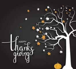 Happy Thanksgiving poster with tree and pumpkin. Hand lettering. Handwritten text. Vector illustration.